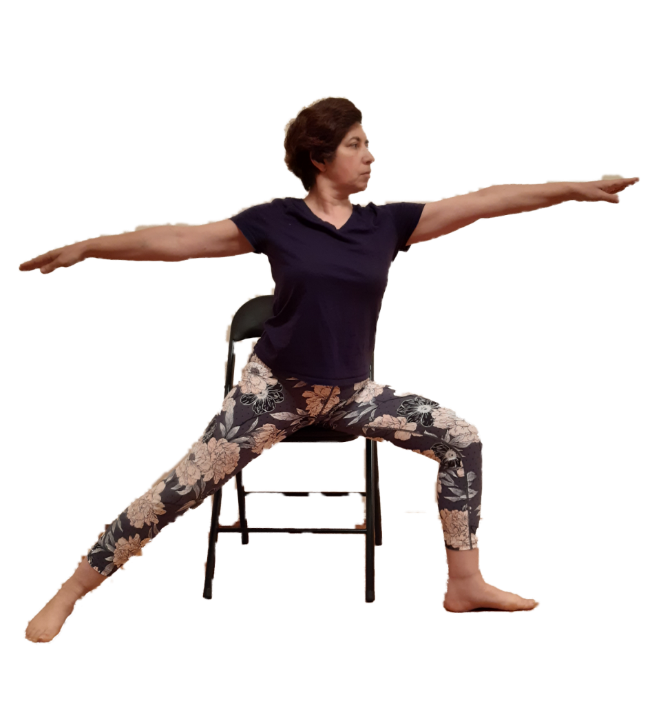 Worrior asana using the chair