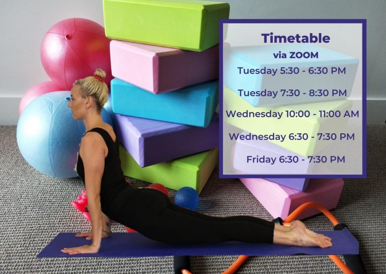 New Yoga timetable for groups via zoom